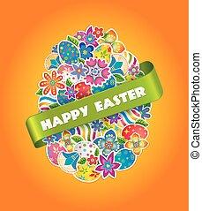 pasqua, simbolo, uovo, e, primavera, flower.