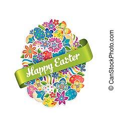 pasqua, simbolo, uovo, e, primavera, flower.2