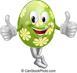 pasqua, su, pollici, uovo, cartone animato, uomo