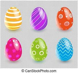 pasqua, trasparente, fondo., mulsticolored, variopinto, eggs...