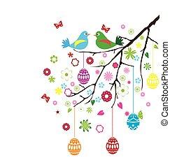 pasqua, uccelli, ramo
