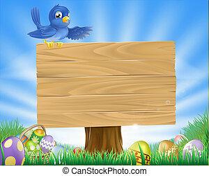pasqua, uccello azzurro, fondo, cartone animato