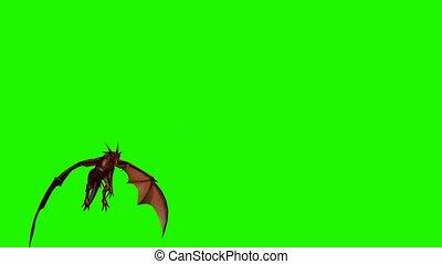 passé, écran, dragon, vert, mouche, -