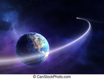 passé, comète, planète, en mouvement, la terre