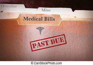 passé, dossier, factures, monde médical, dû