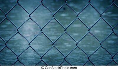 passé, fil, en mouvement, pluie, barrière