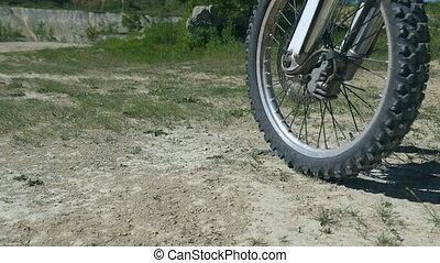passé, lent, motocross, haut, mouvement, vélo, appareil-photo., fin, promenades
