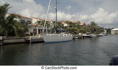 passé, maisons, harbourside, bateau, conduite
