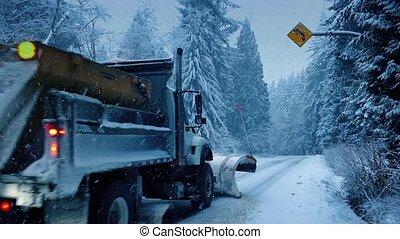 passé, voitures, camion, conduire, chasse neige