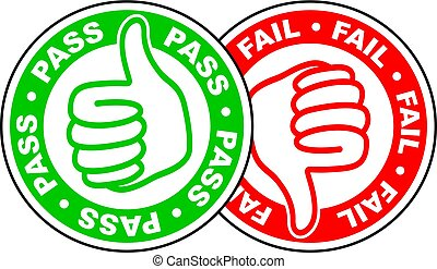 pass and fail thumbs up and down