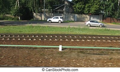 Pass by little railroad station, time lapse