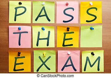 Pass the exam words made by post it