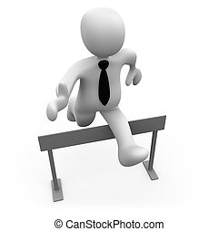 Pass The Obstacles - 3d businessman jumping over a hurdle .