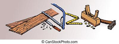 passa-feito, joiner, ferramentas, esboço
