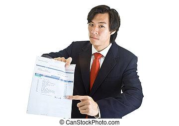 passado, apontar, expression., conta médica, devido, isolado, dunning, experiência., asiático, homem negócios, branca