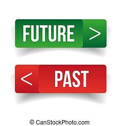passado, botão, futuro, sinal