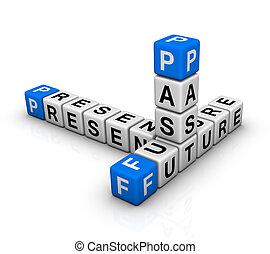 passado, crossword, futuro, presente, &