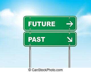passado, futuro, 3d, sinal estrada