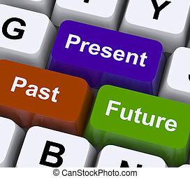passado, presente, e, futuro, teclas, mostrar, evolução, ou,...
