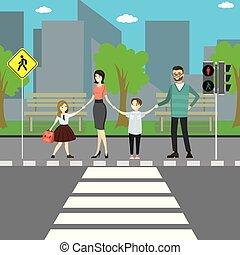 passage clouté, rue ville, route, famille, signe, heureux, caucasien
