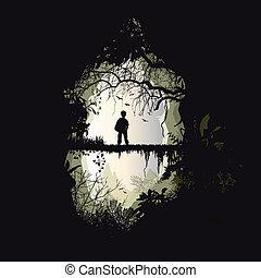 passage, for?t, bois, jungle, - homme, for?t, bois, jungle,...