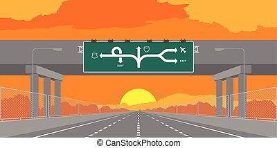 passage inférieur, signage, ciel, isolé, illustration, autoroute, surise, vert, autoroute, fond, temps, orange, coucher soleil, ou, route