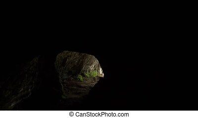passage inside a cave with artificial lighting. - passage...