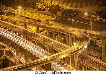 passage supérieur, autoroute, nuit