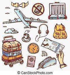 passageiro, ícones conceito, viagem, ar, aeroporto, objetos, viajando, avião, turismo, viagem