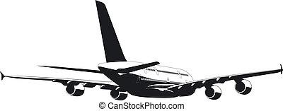 passageiro, a380, silueta, jetliner