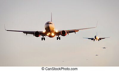 passageiro, aeroporto, aterragem, jetliner