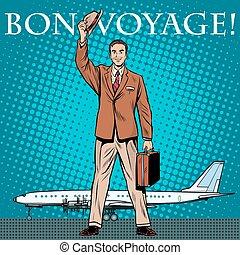 passageiro, aeroporto, homem negócios, viagem bon
