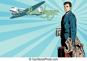 passageiro, aeroporto, macho, viajante