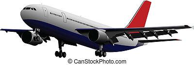 passageiro, airplanes., colorido, vect