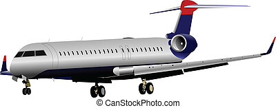 passageiro, airplanes., vetorial, colorido