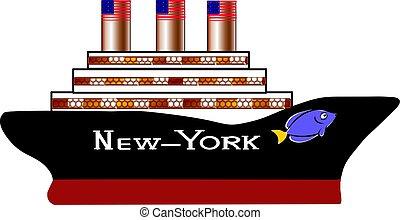passageiro, americano, navio, novo-new-york, cruzeiro