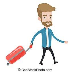 passageiro, andar, suitcase.