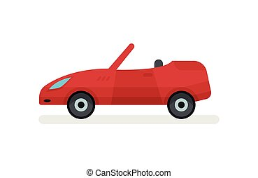 passageiro, apartamento, urbano, car, cabriolé, luminoso, vetorial, roof., vista., ícone, abertos, lado, transporte, vermelho