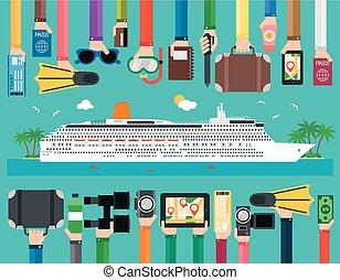 passageiro, apartamento, viagem, liner cruzeiro, desenho, tempo
