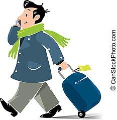 passageiro, ar, mala, telefone, engraçado