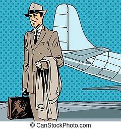 passageiro, arte, negócio, estouro, ar, re, viajante, homem negócios, macho, viagem