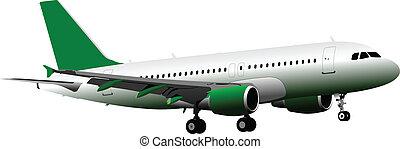 passageiro, avião., ligado, a, ar., ve