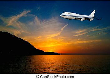 passageiro, avião, nuvens, pôr do sol