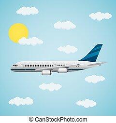 passageiro, avião, sky.