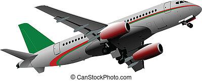 passageiro, avião, ve, ar.