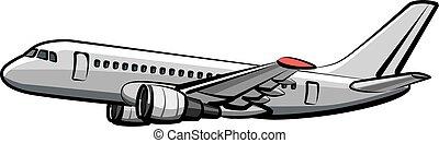 passageiro, avião, voando