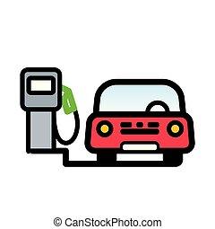 passageiro, bomba, gás, carro vermelho