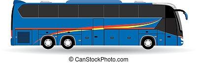 passageiro, branca, isolado, fundo, autocarro