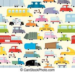 passageiro, brinquedo, fundo, cidade, chão, car, hearse, transport., seamless, diverso, tráfego, frete, ambulância, carro., jam., pattern., caricatura, transoprt.