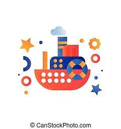 passageiro, brinquedo, mar, transporte, ilustração, viagem, água, vetorial, retro, fundo, cruzeiro, branca, navio